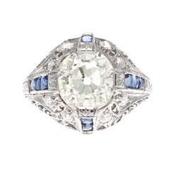 Art Deco 2.34 Carat Old European Cut Diamond Sapphire Platinum Engagement Ring