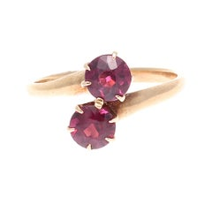 Vintage Garnet Gold Bypass Ring