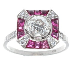 Art Deco Revival Old European Cut Diamond Ruby Platinum Ring