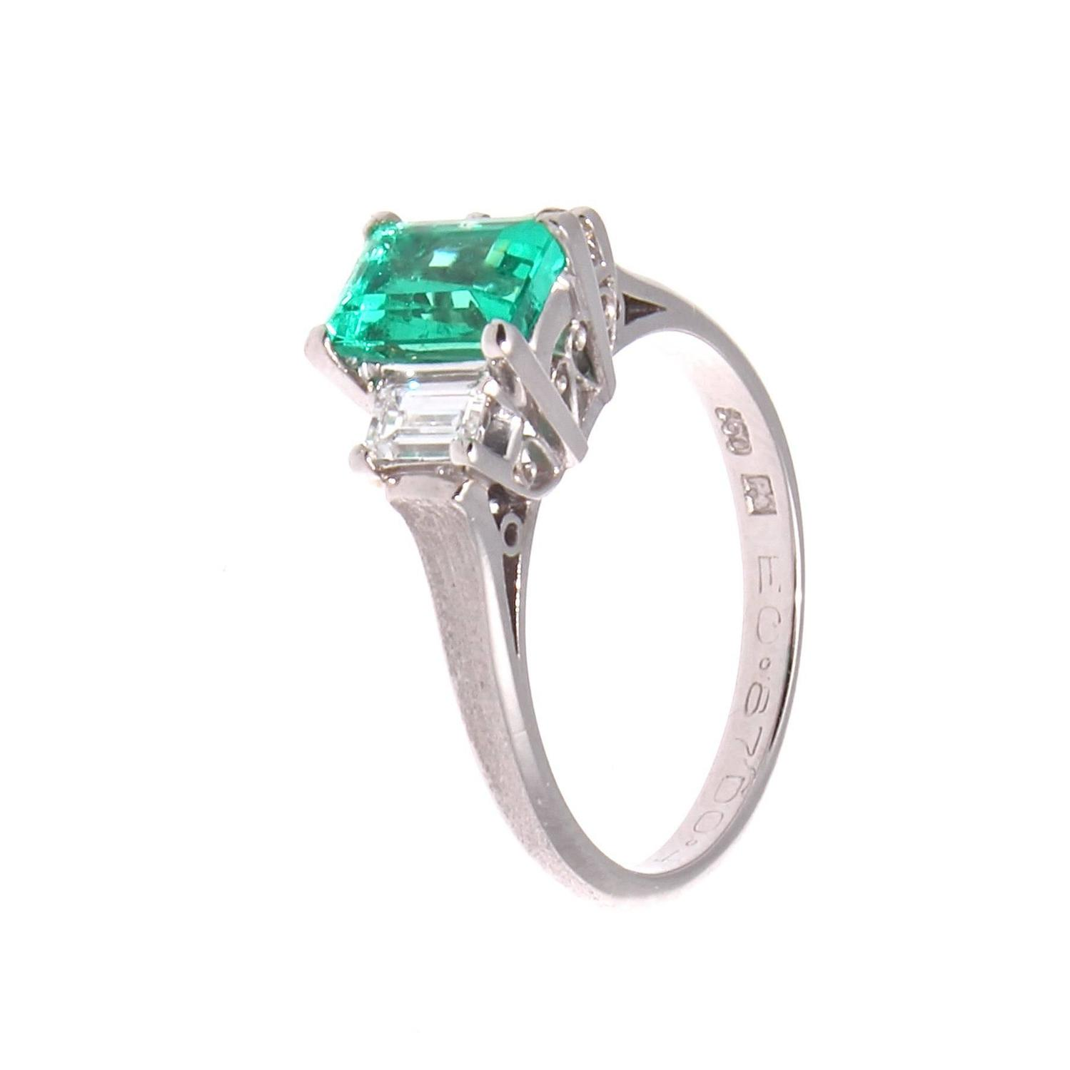 emerald platinum engagement ring at 1stdibs