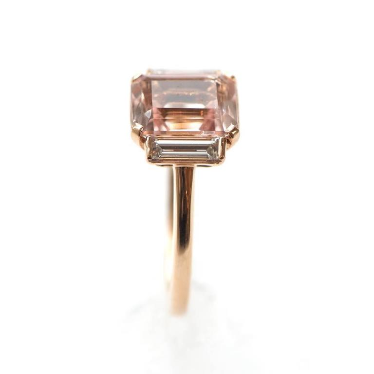 Rose Gold 3 Carat Emerald Cut Morganite and Diamond Ring 2