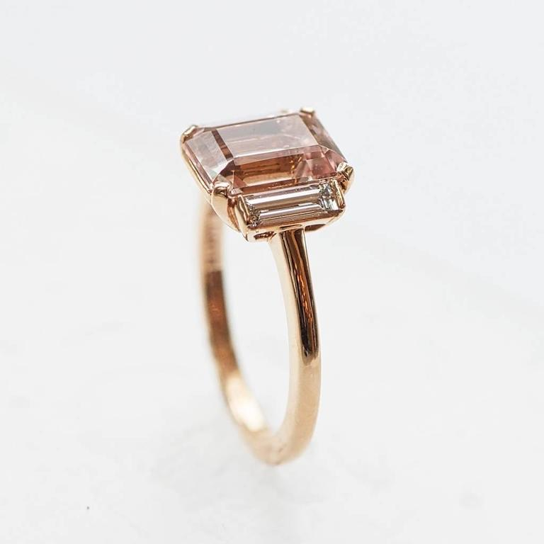 Rose Gold 3 Carat Emerald Cut Morganite and Diamond Ring 5