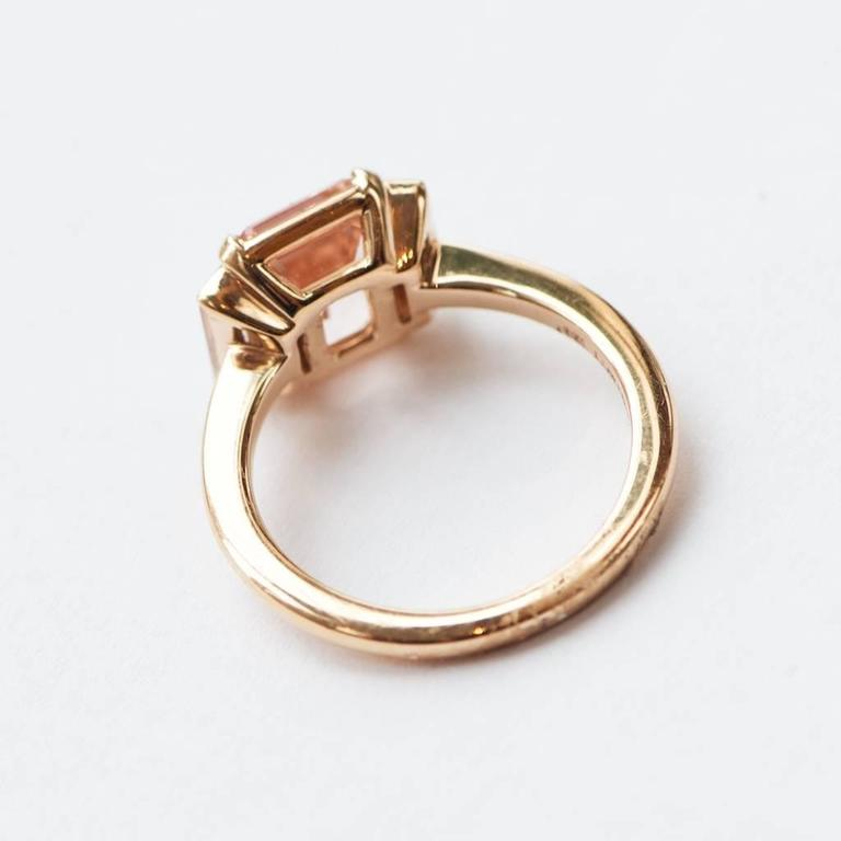 Rose Gold 3 Carat Emerald Cut Morganite and Diamond Ring 3