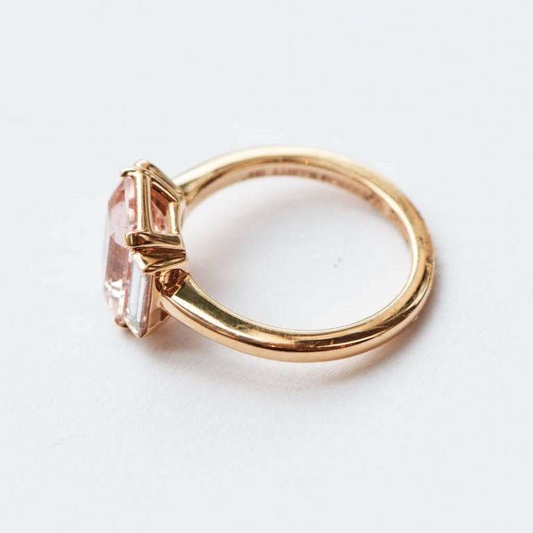 Rose Gold 3 Carat Emerald Cut Morganite and Diamond Ring 4