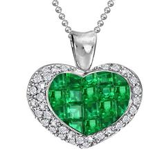 Emerald Diamond White Gold Heart Pendant Necklace