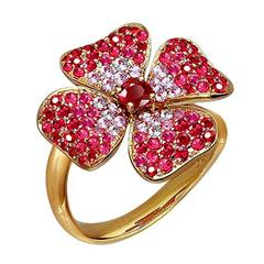 Ruby Pink Sapphire Yellow Gold Flower Ring