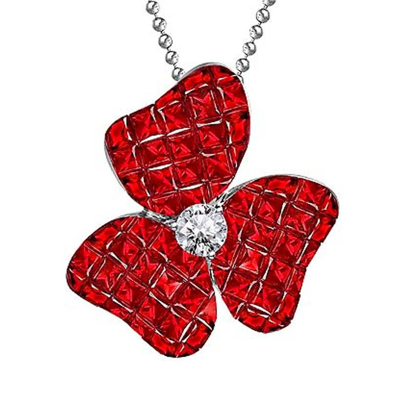 Ruby Diamond White Gold Flower Pendant Necklace 1