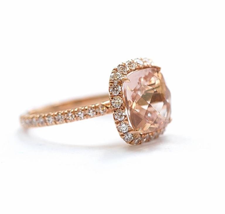 3 40 Carat Morganite Diamond Micro Pave 18k Rose Gold Ring For Sale at 1stdibs
