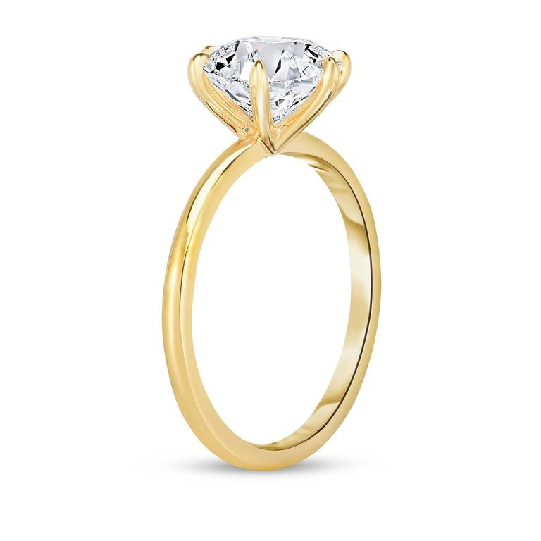 Marisa Perry 2.22 Carat Round Diamond Engagement Ring in Yellow Gold 2