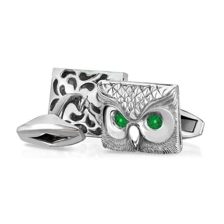 Marisa Perry's Emerald Owl Cufflinks in Sterling Silver 2