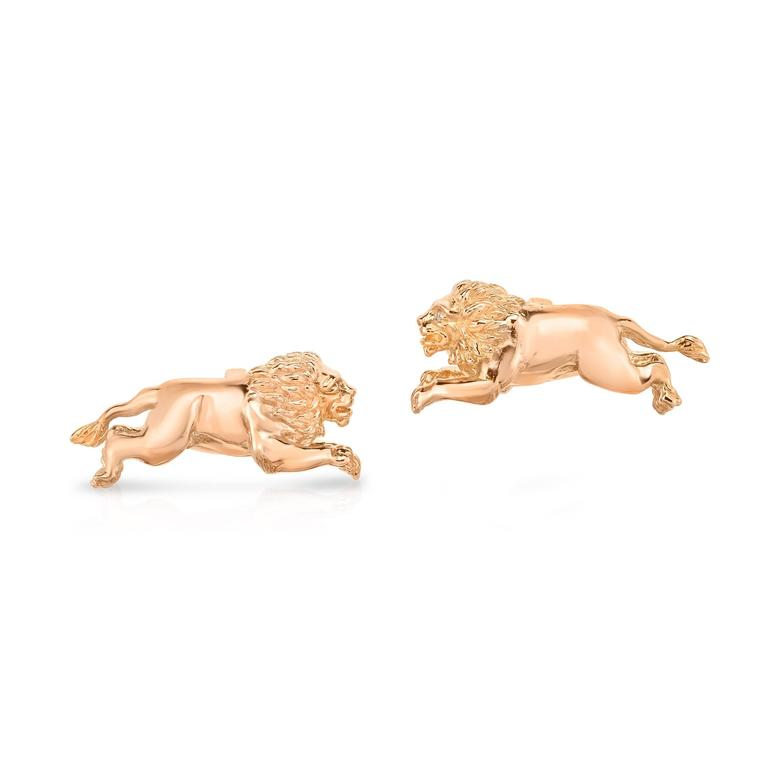 Marisa Perry's Rose Gold and Diamond Lion Cufflinks 2