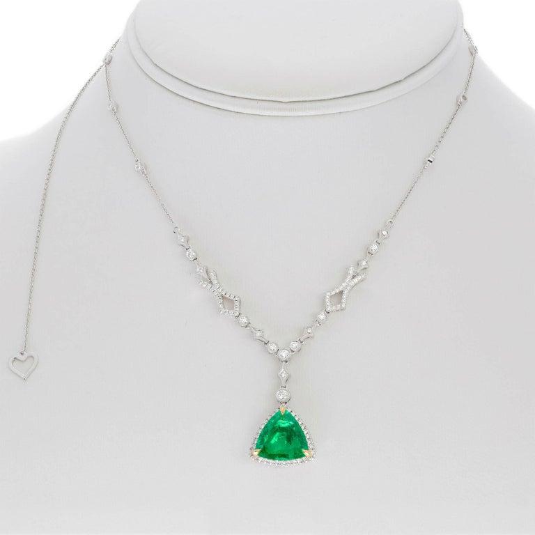 Trillion Cut Emerald Diamond Pendant in White Gold 2