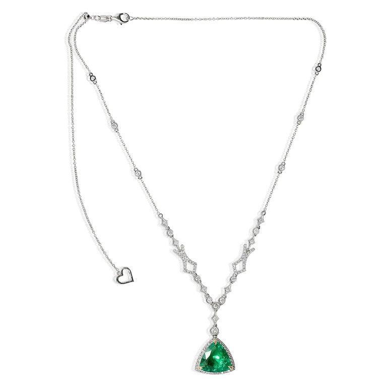 Trillion Cut Emerald Diamond Pendant in White Gold 3