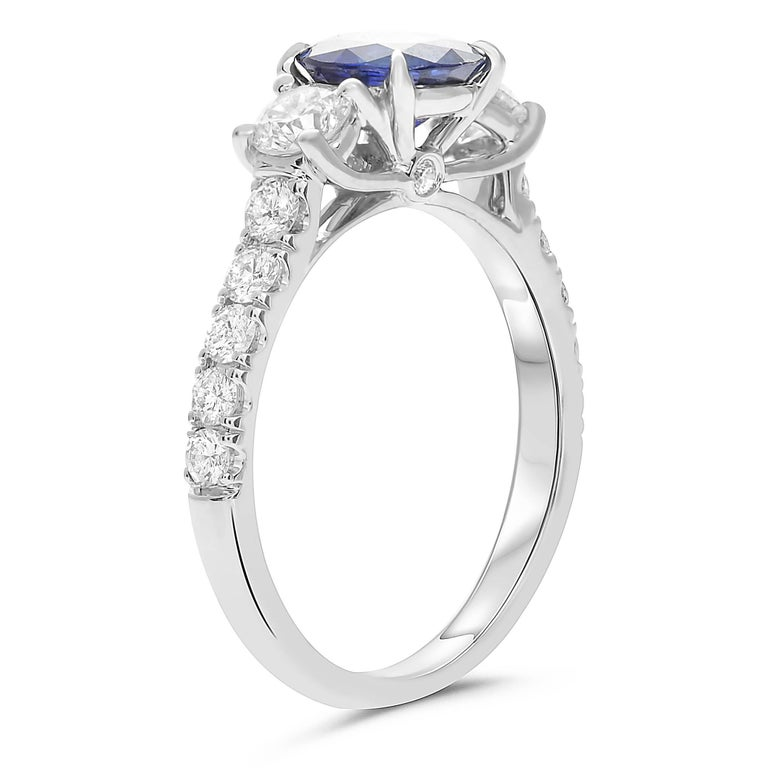 Contemporary GIA Certified 1.42 Carat Blue Sapphire Diamond Three-Stone Ring in White Gold For Sale