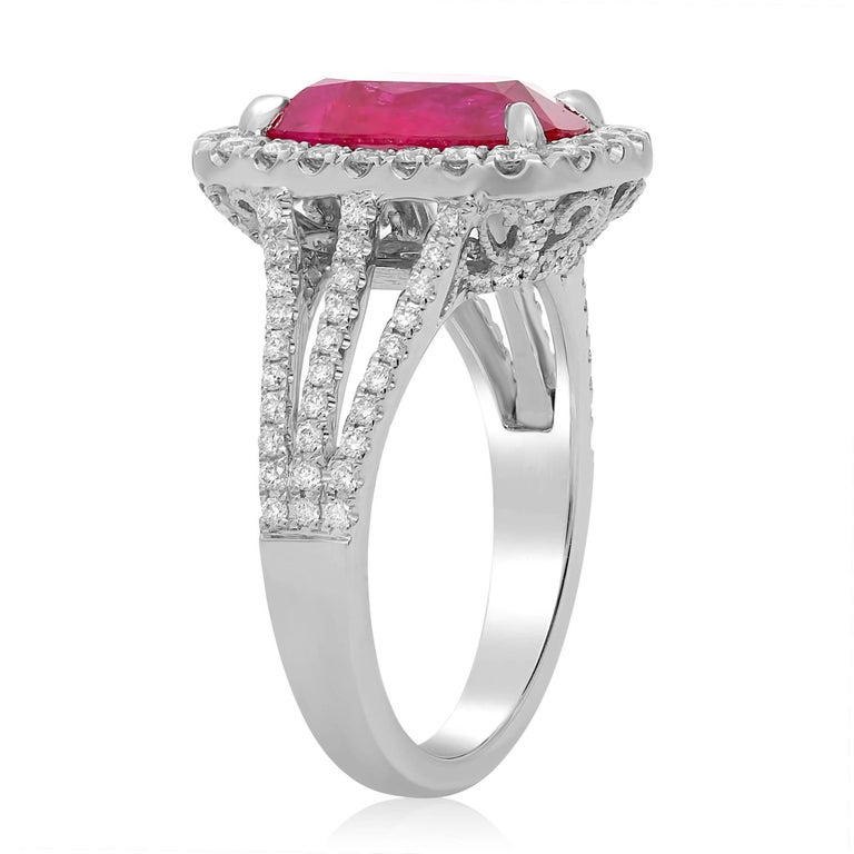 Contemporary 3 Carat Ruby Diamond Pave Ring  For Sale