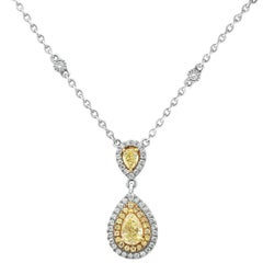Pear Shaped Diamond Hanging Pendant Necklace with Double Halo in Two-Tone Gold