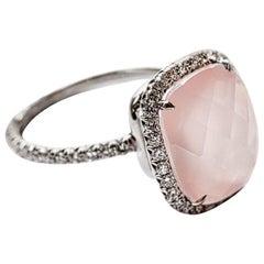 Micro Pave Diamond Rose Quartz Engagement Ring in Platinum