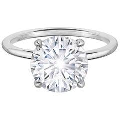 3.02 Carat Round Solitaire Diamond Engagement Ring in Platinum