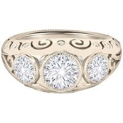 Three-Stone Diamond White Gold Ring