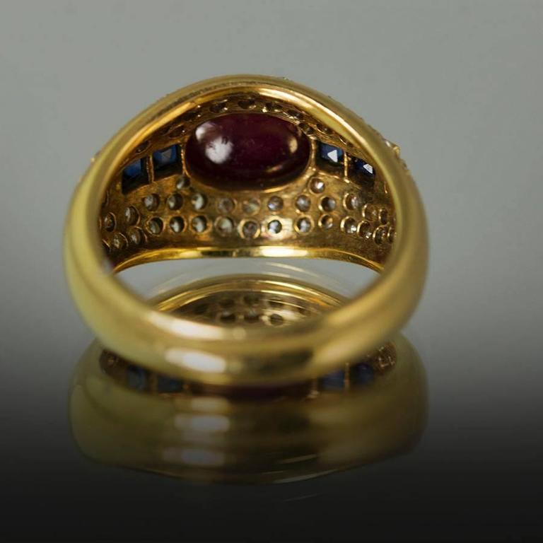 Women's or Men's Ruby Sapphire Diamond Gold Ring For Sale