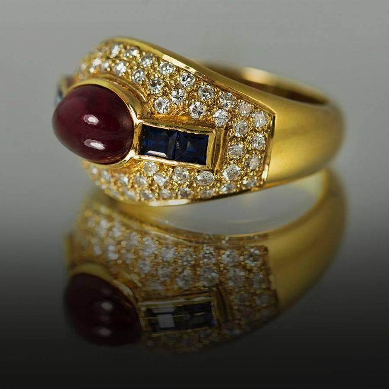 Modern Ruby Sapphire Diamond Gold Ring For Sale