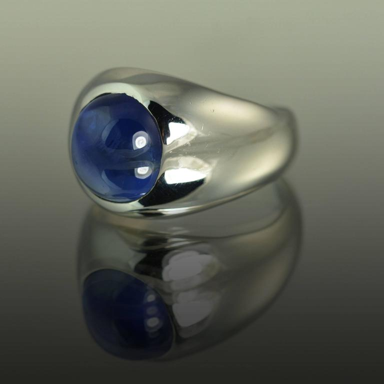 14k White Gold Dome Ring with Certified 6.74 Carat No Heat Sapphire