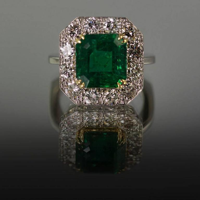 Keith Davis Emerald Diamond Platinum Ring For Sale At 1stdibs