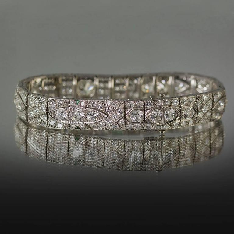 1930s Art Deco Diamond Platinum Bracelet  For Sale 1