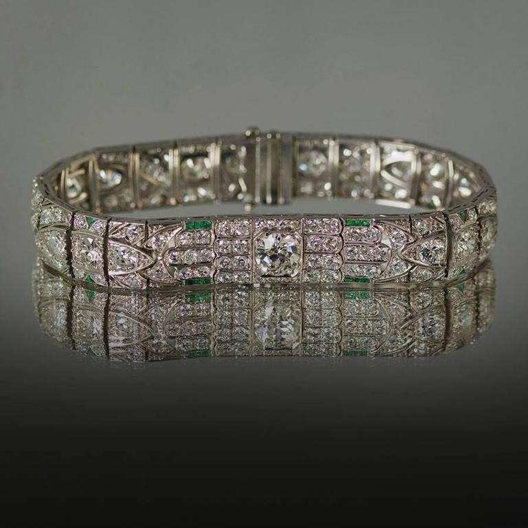 1930s Art Deco Diamond Platinum Bracelet  For Sale 2