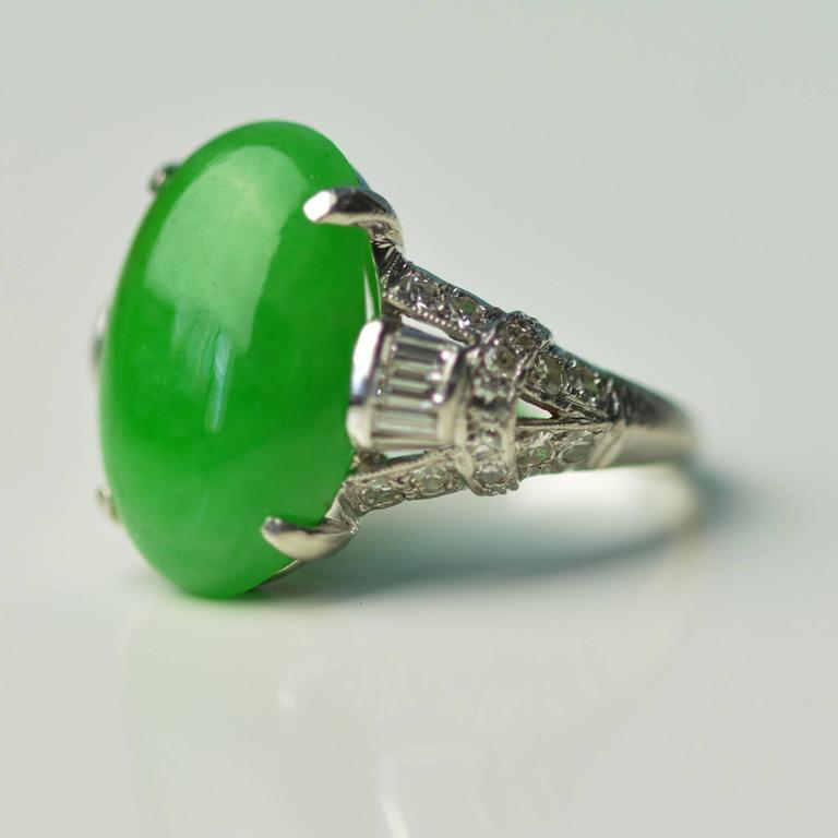 Antique Imperial Jade Platinum Ring 3