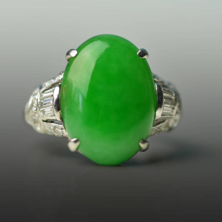Antique Imperial Jade Platinum Ring 2
