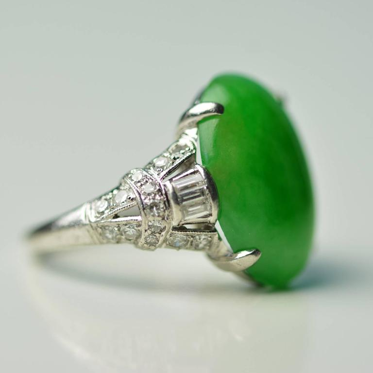Antique Imperial Jade Platinum Ring 4