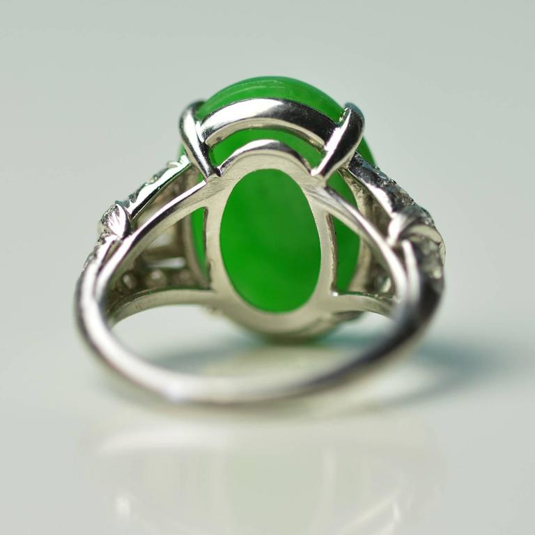 Antique Imperial Jade Platinum Ring 5
