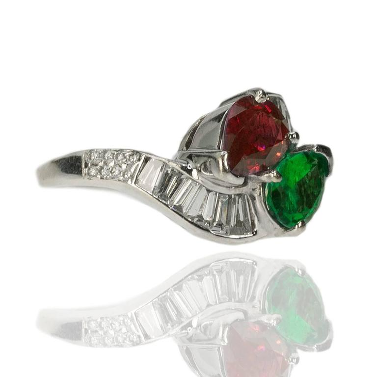 Burma Ruby Colombian Emerald Platinum Ring 2