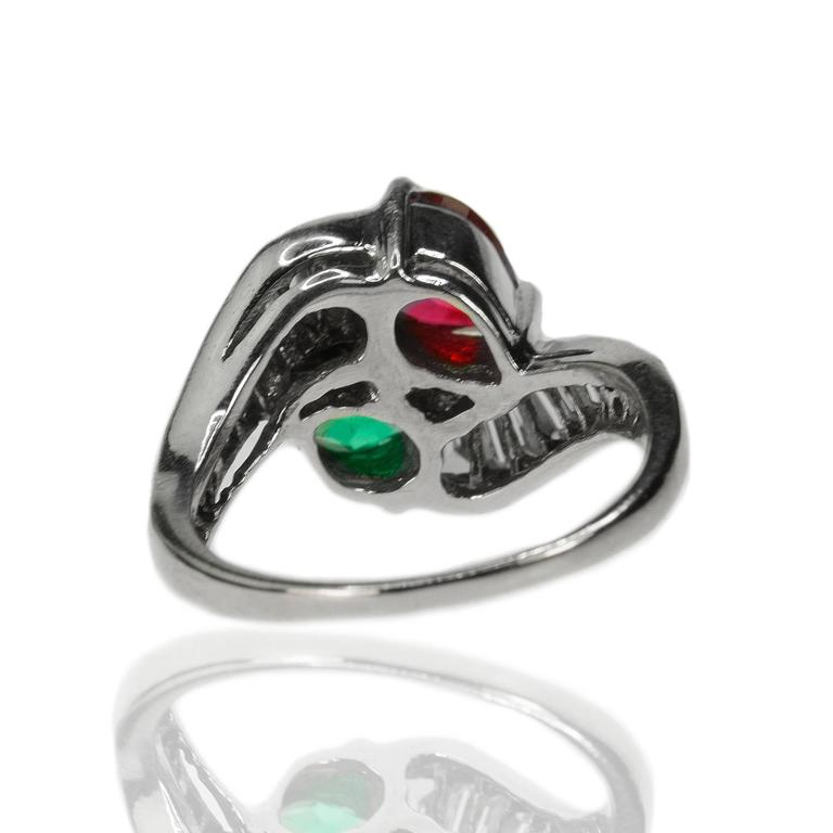 Burma Ruby Colombian Emerald Platinum Ring 3