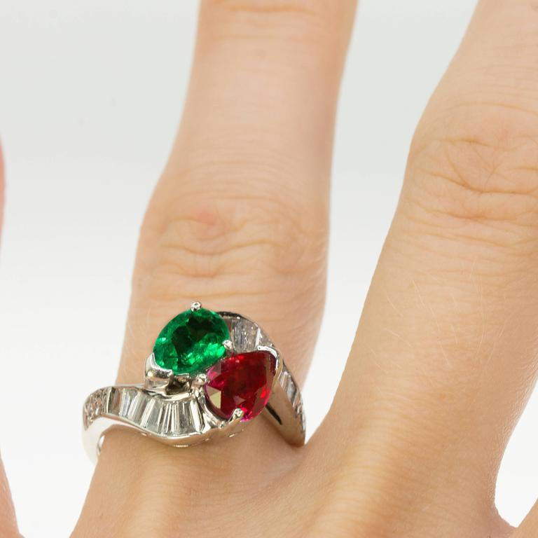 Burma Ruby Colombian Emerald Platinum Ring 4