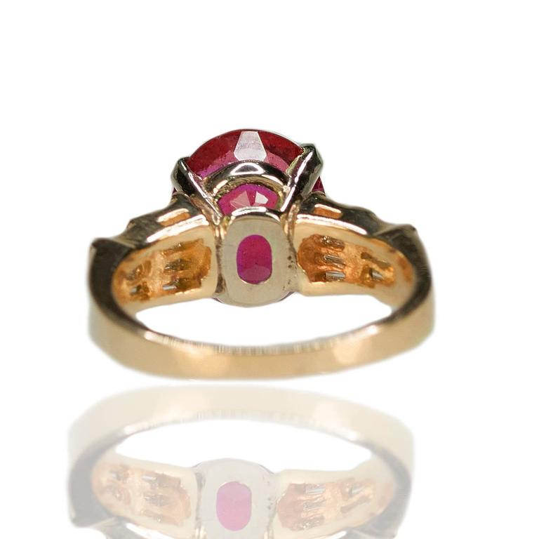 Rubellite Tourmaline Diamond Gold Ring 2