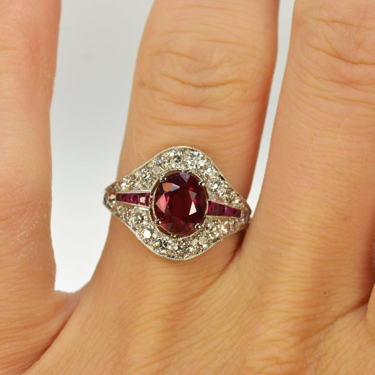 Women's or Men's  Art Deco Burma Ruby Platinum Ring For Sale
