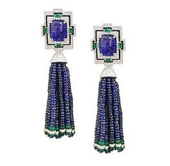 Sapphire Tassel Earrings with Tanzanites and Emeralds