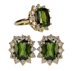 Tourmaline Diamond Cluster Earring Ring Suite