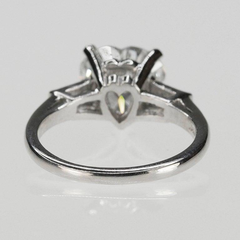 GIA 2.52 Carat Heart Shape Diamond in Platinum Ring For Sale 2