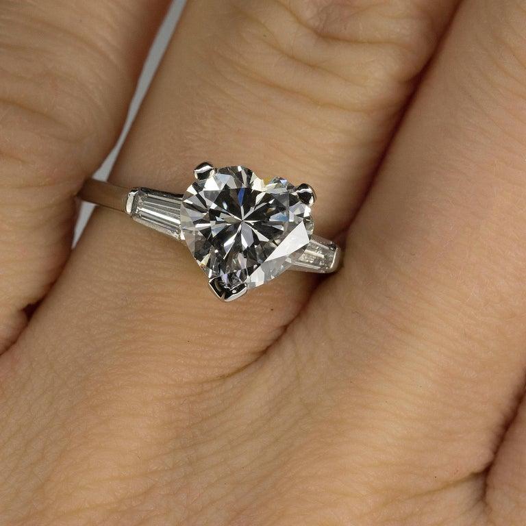 Women's or Men's GIA 2.52 Carat Heart Shape Diamond in Platinum Ring For Sale
