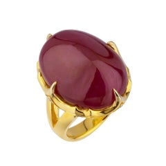 18 Karat Ring with 41.01 Carat No Heat Burma Ruby