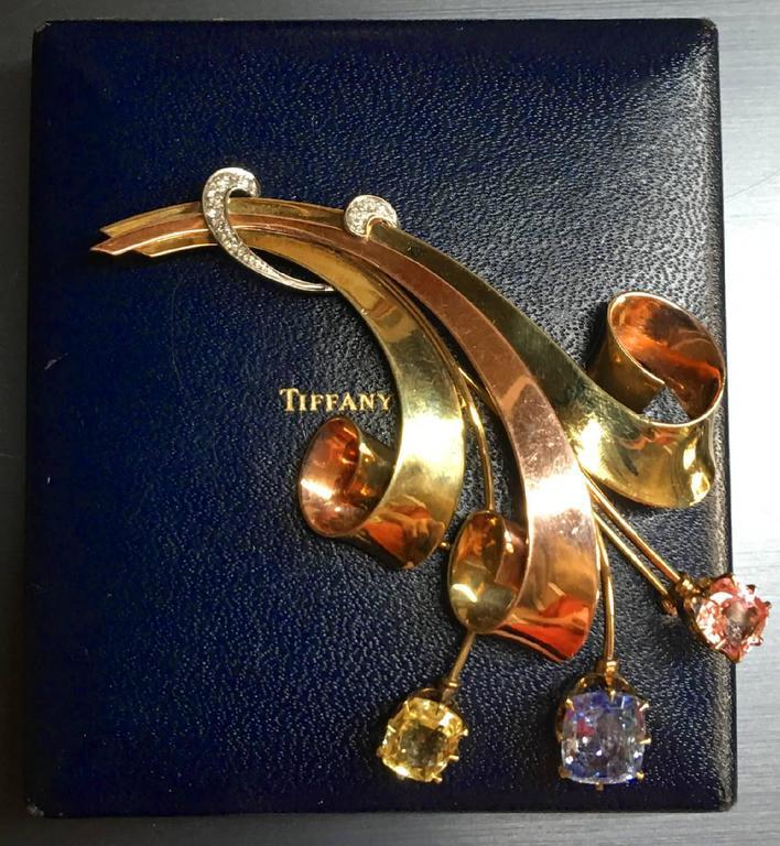 Tiffany & Co. Retro Sapphire Diamond Gold Brooch In Excellent Condition For Sale In Sarasota, FL