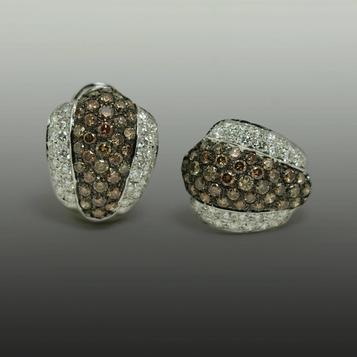chocolate platinum earrings for sale at 1stdibs