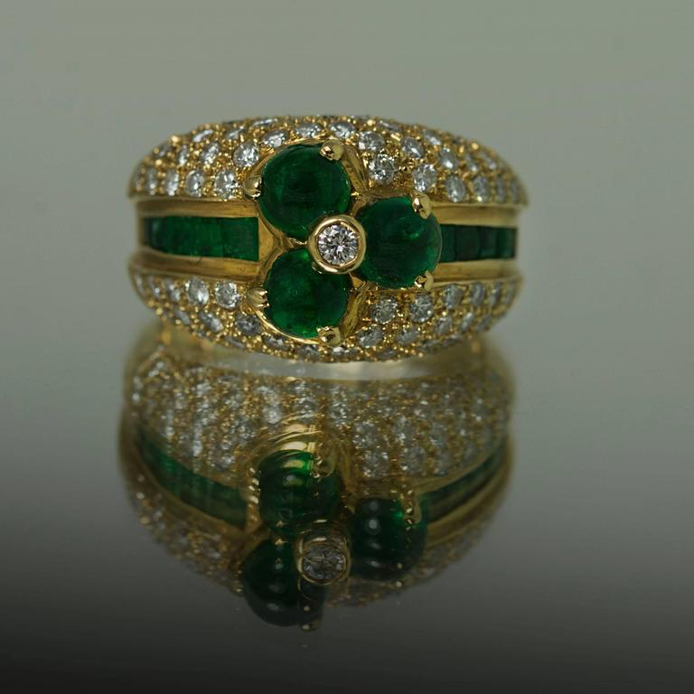 emerald pave gold ring at 1stdibs
