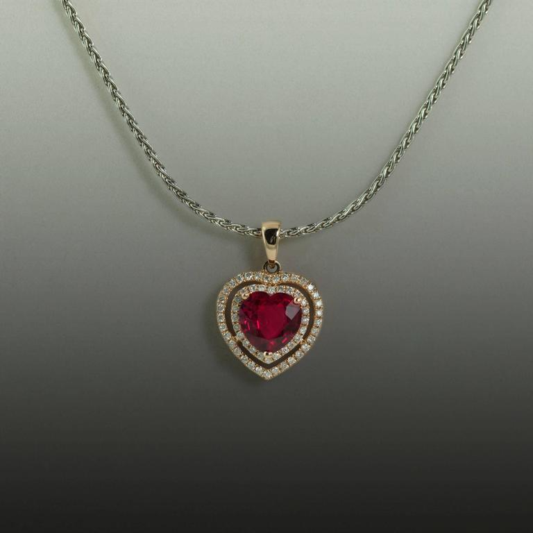 Heart Shaped Ruby Diamond Gold Necklace  2