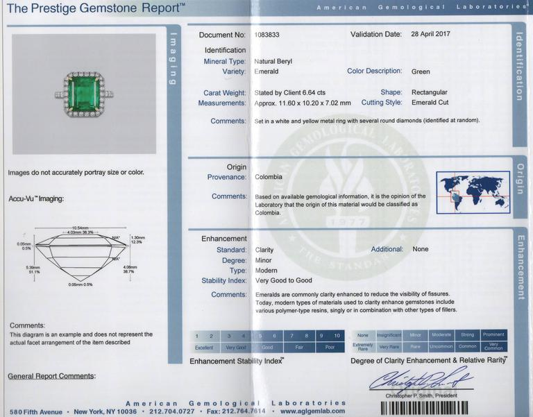 AGL Certified Colombian Emerald Gold Ring For Sale 2