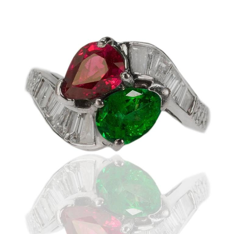 Burma Ruby Colombian Emerald Platinum Ring 5