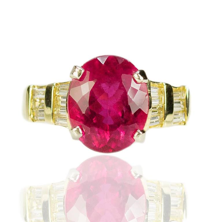 Rubellite Tourmaline Diamond Gold Ring 4
